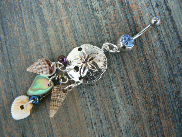 sand dollar belly ring  abalone seashells sand dollar charm in beach boho gypsy hippie belly dancer  beach hipster and fantasy style
