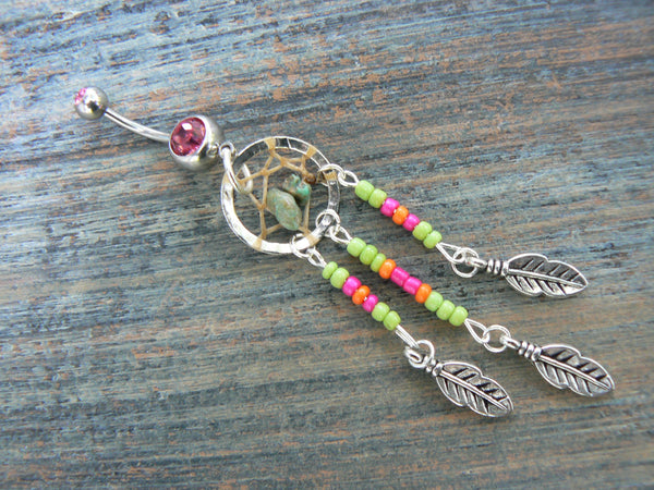 dreamcatcher belly ring turquoise green pink orange beads  boho hippie belly dancer