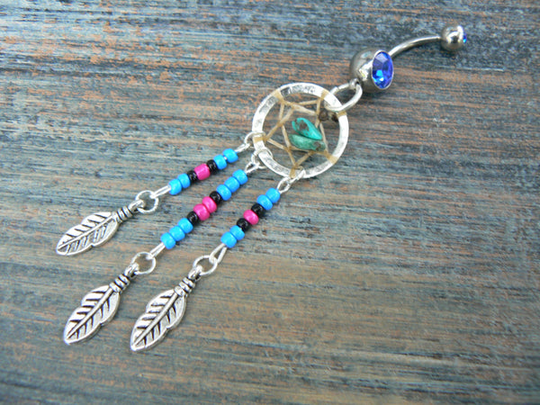 Turquoise dreamcatcher belly ring turquoise  blue pink and black beads tribal inspired
