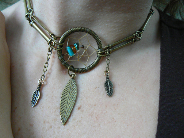 dreamcatcher necklace turquoise and amber in antique brass tribal inspired