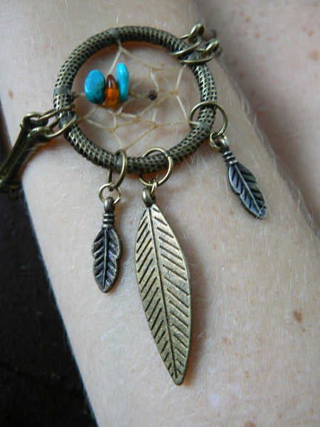 dreamcatcher bracelet brass with turquoise and  amber