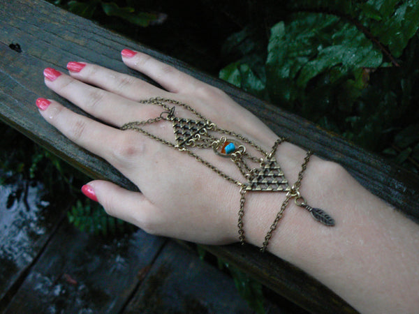 dreamcatcher geometric slave bracelet with turquoise and amber steampunk style