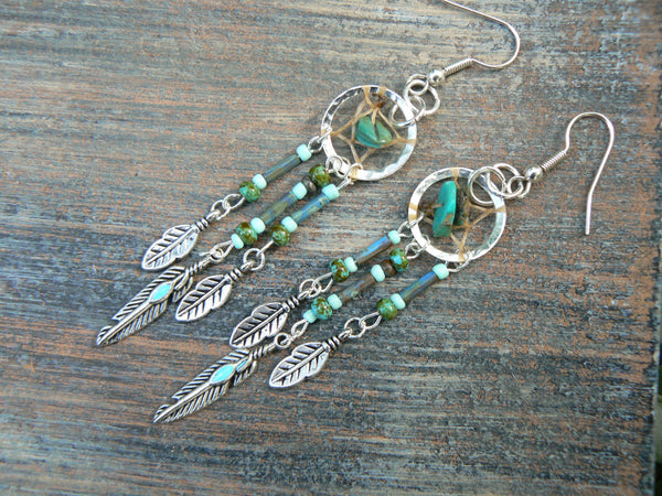 turquoise dreamcatcher earrings TURQUOISE in native american inspired tribal boho belly dancer and hipster style