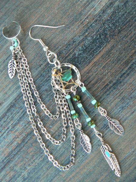 ONE turquoise dreamcatcher chained ear cuff turquoise  czech beads  cuff in boho gypsy hippie hipster  and tribal style