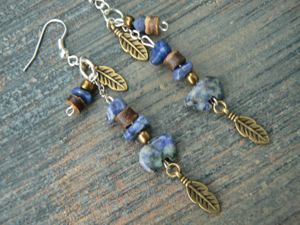 sodalite gemstone zuni bear earrings blue sodalite in native american inspired tribal boho belly dancer and hipster style