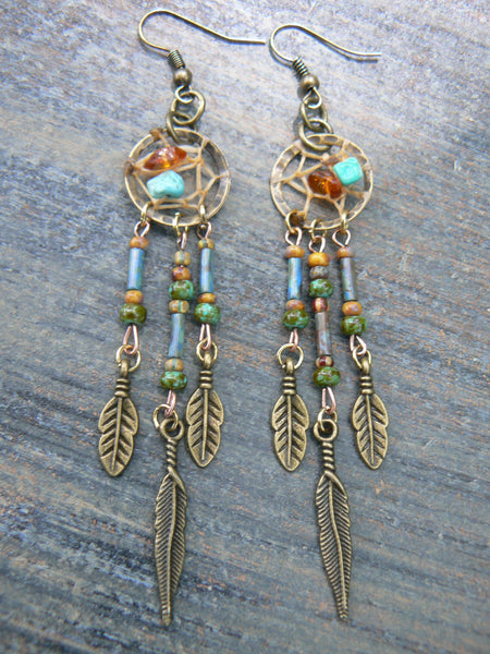 dreamcatcher earrings turquoise  and amber  in tribal boho belly dancer and hipster style