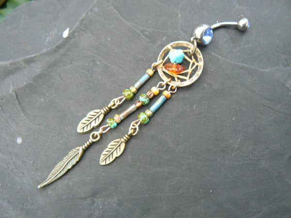 dreamcatcher belly ring turquoise  tribal boho hippie belly dancer and hipster style