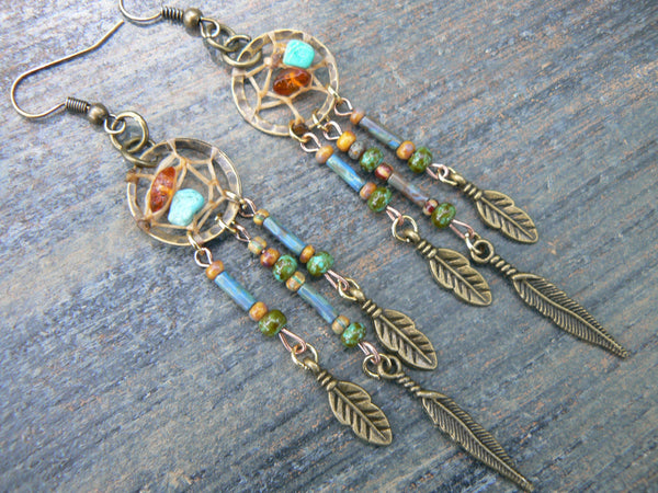 turquoise  and amber dreamcatcher earrings in  tribal boho belly dancer and hipster style