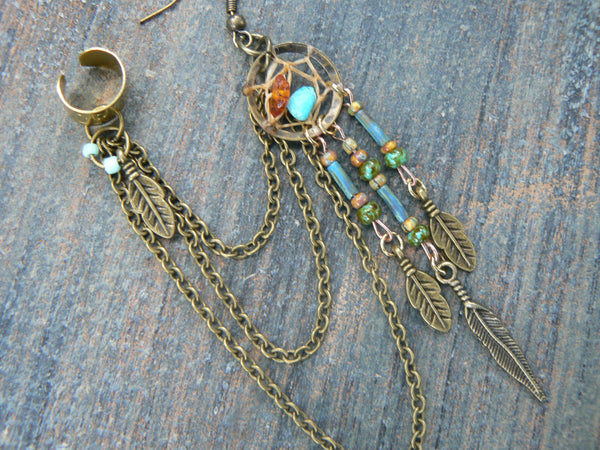 ONE turquoise and amber dreamcatcher  chained ear cuff czech beads cross cuff in boho gypsy hippie hipster  and tribal style