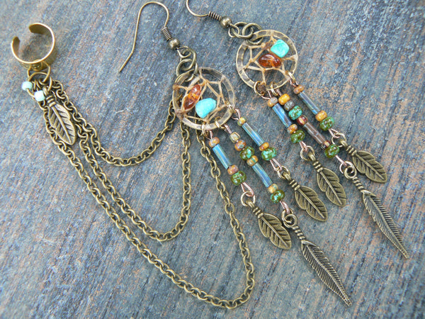 turquoise amber dreamcatcher chained ear cuff SET czech beads earrings cross  in boho gypsy hippie hipster native american inspired tribal