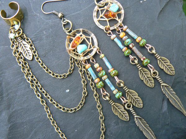 turquoise and amber dreamcatcher chained ear cuff SET czech beads cross cuff in boho gypsy hippie hipster and tribal style