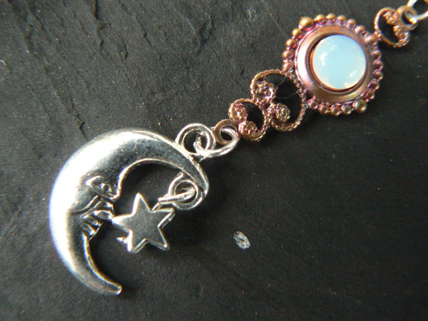 moon and star belly ring white opal glass in moon goddess beach new age belly dancer celestial gypsy hippie morrocan boho and hipster style