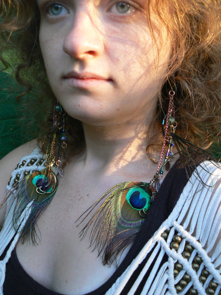 Bohemian Peacock earrings hippie feather earrings Festival earrings