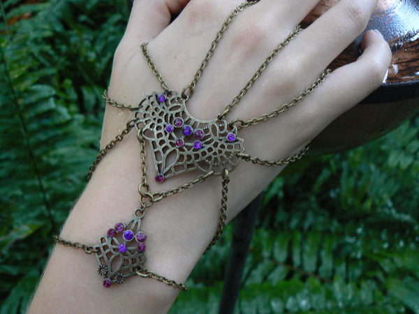 belly dancer hand flower tribal fusion style Purple gems