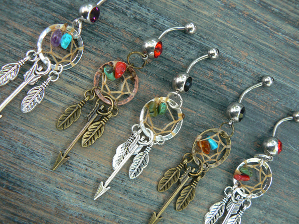 arrow feather dreamcatcher belly rings  ONE