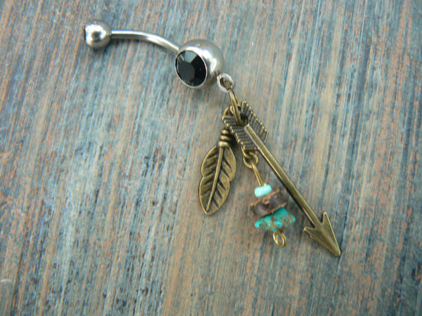 arrow and turquoise belly ring in antique brass