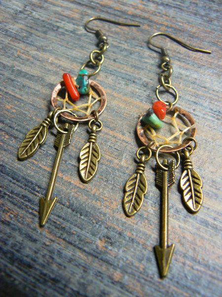 arrow dreamcatcher earrings in copper with turquoise and red coral