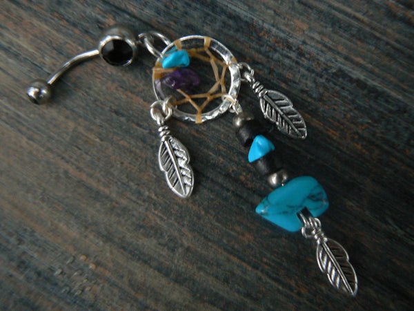 turquoise zuni bear dreamcatcher belly ring  in belly dancer indie gypsy hippie morrocan boho tribal  and hipster style