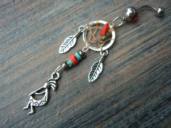 kokopelli kachina dreamcatcher belly ring in tribal native american inspired belly dancer indie gypsy hippie morrocan boho and hipster style