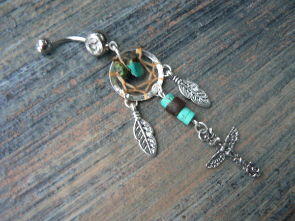 totem dreamcatcher belly ring in tribal native american inspired belly dancer indie gypsy hippie morrocan boho and hipster style