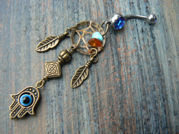 hamsa hand dreamcatcher belly ring protection fatima hands hamsa hand in belly dancer indie gypsy hippie morrocan boho and hipster style