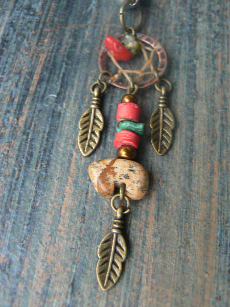 Jasper zuni bear dreamcatcher belly ring turquoise coral in belly dancer indie gypsy hippie morrocan boho tribal native and hipster style
