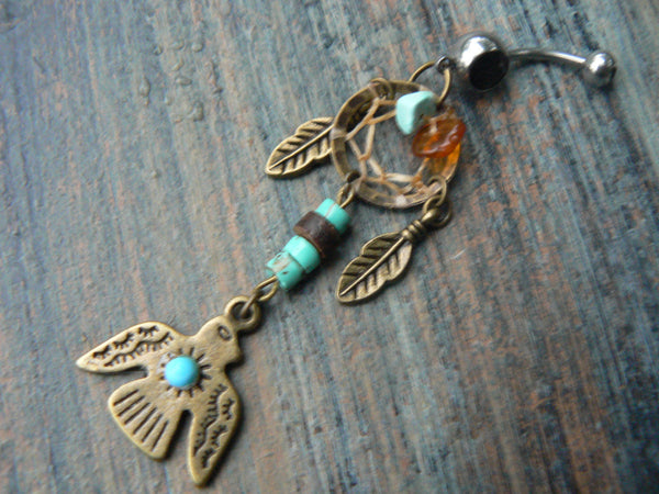 tribal thunderbird dreamcatcher belly ring turquoise amber in belly dancer native american inspired gypsy hippie boho and hipster style
