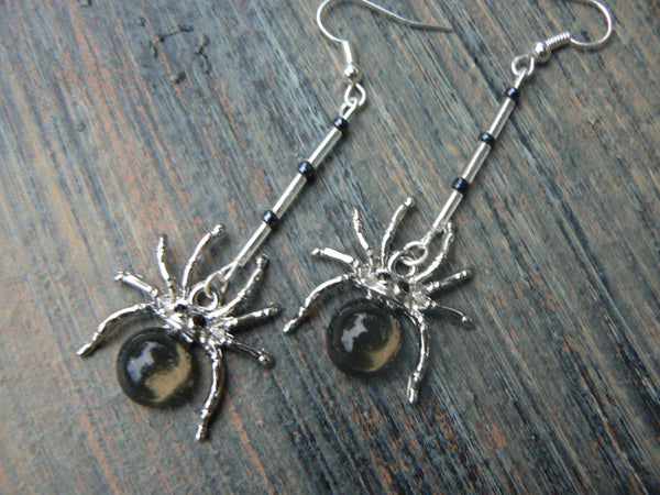 halloween goth spider earrings spider glass  cabachon bugel beads in goth gothic fantasy tribal boho hippie belly dancer and hipster style