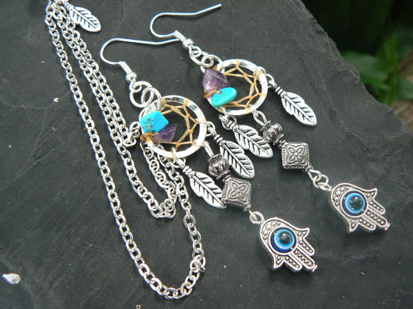 hamsa  dreamcatcher chained ear cuff SET  turquoise and amethyst