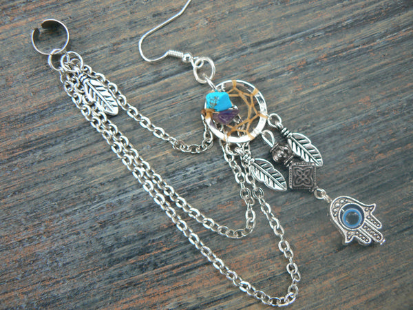 evil eye chained hamsa ear cuff  ONE dreamcatcher