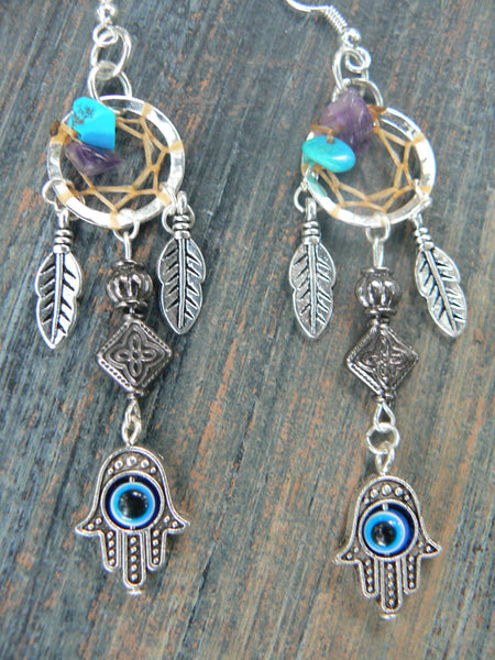 hamsa hand dreamcatcher earrings turquoise and amethyst  in Moroccan tribal fusion Indie new age boho hippie belly dancer and hipster style