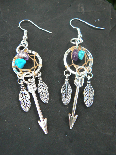 silver arrow dreamcatcher earrings turquoise and amethyst  in tribal boho hippie belly dancer and hipster style