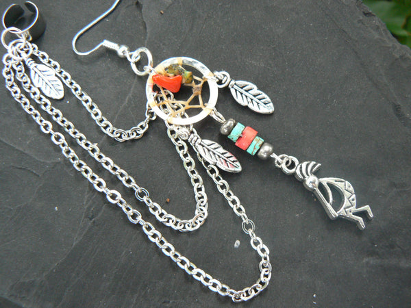 ONE kokopelli kachina dreamcatcher chained ear cuff turquoise and coral cuff in boho gypsy hippie hipster native tribal  style
