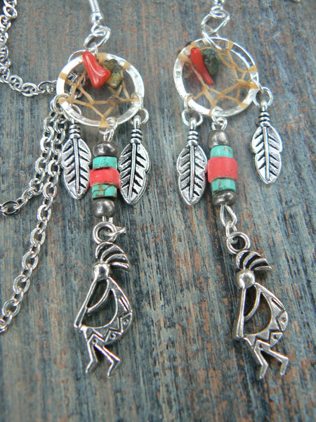 kokopelli  dreamcatcher chained ear cuff set kachina turquoise and coral cuff in boho gypsy hippie hipster  tribal  style