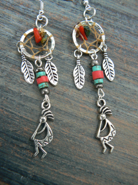kokopelli kachina dreamcatcher earrings turquoise and red coral in tribal fusion boho hippie belly dancer and hipster style