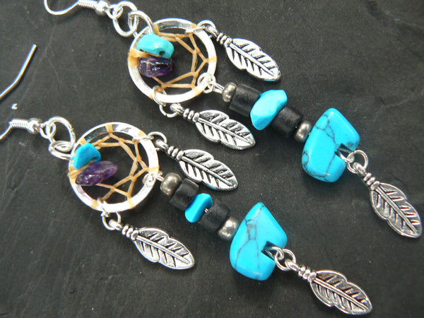 turquoise zuni bear dreamcatcher earrings turquoise amethyst in tribal natibve american inspired boho hippie belly dancer and hipster style