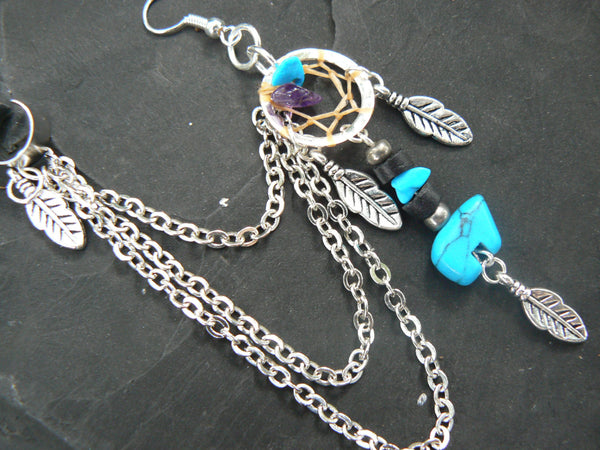 ONE  zuni bear turquoise  dreamcatcher chained ear cuff turquoise and amethyst cuff in boho gypsy hippie hipster tribal style