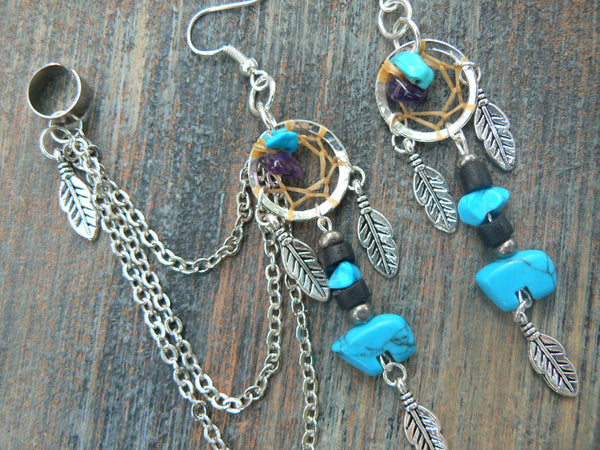 turquoise zuni bear dreamcatcher chained ear cuff SET  amethyst cuff in boho gypsy hippie hipster native american inspired  tribal style