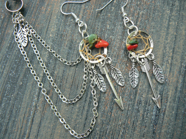 silver arrow dreamcatcher chained ear cuff SET turquoise and red coral cuff in boho gypsy hippie hipster tribal style