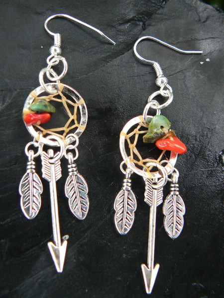 silver arrow dreamcatcher earrings turquoise and red coral in tribal boho hippie belly dancer and hipster style
