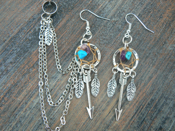 silver arrow dreamcatcher chained ear cuff SET  amethyst cuff in boho gypsy hippie hipster native american inspired  tribal style