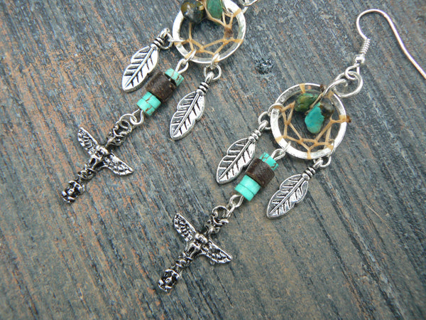 totem dreamcatcher earrings turquoise  in tribal fusion boho hippie belly dancer and hipster style