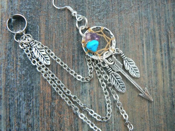 ONE silver arrow dreamcatcher chained ear cuff turquoise and amethyst cuff in boho gypsy hippie hipster tribal  style