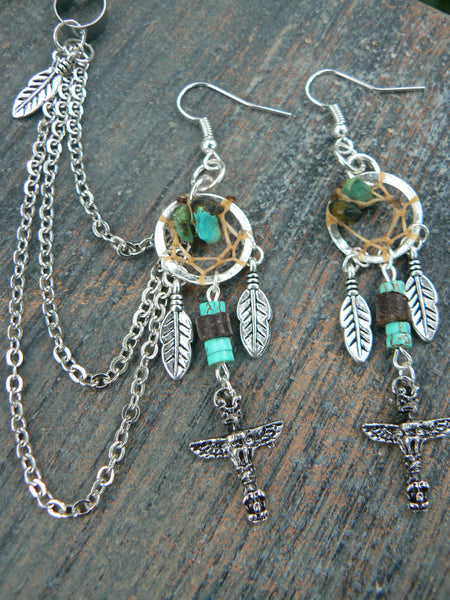 totem dreamcatcher chained ear cuff set boho gypsy hippie hipster native american inspired  tribal  style