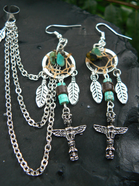 native dreamcatcher  totem chained ear cuff set turquoise  in boho gypsy hippie hipster  tribal  style