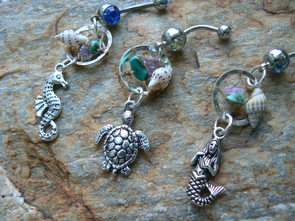 PICK ONE beach dreamcatcher belly ring seahorse or mermaid or sea turtle  seashell in gypsy hippie morrocan boho and hipster style