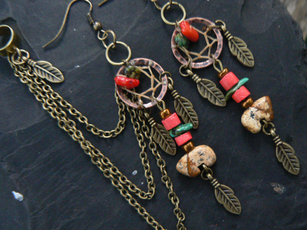 dreamcatcher ear cuff SET  jasper zuni style bears turquoise and red coral
