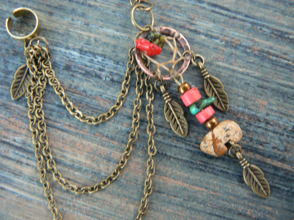 ONE jasper zuni bear dreamcatcher chained ear cuff turquoise and red coral cuff in boho gypsy hippie hipster tribal style