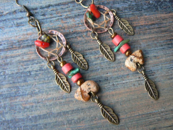 jasper zuni bear dreamcatcher earrings turquoise red coral in tribal native american inspired boho hippie belly dancer and hipster style