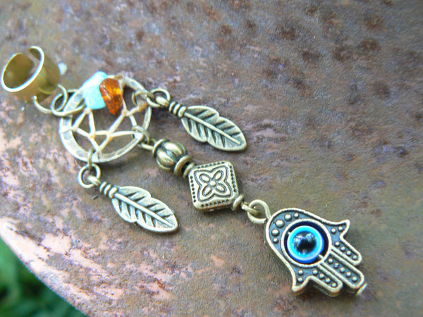 evil eye dreamcatcher ear cuff ONE  turquoise and amber
